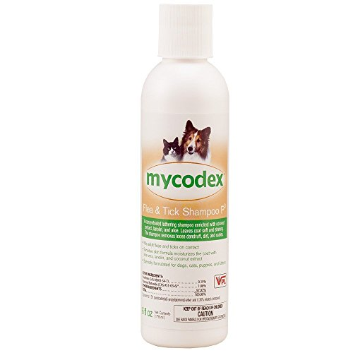 Lice ,Flea Treatment & Tick Repellent pet mycodex shampoo with pyrethrin, enriched with coconut extract aloe vera and lanolin for coat moisturize, special for dogs, cats, puppies ,& kittens. (176 ml) ()