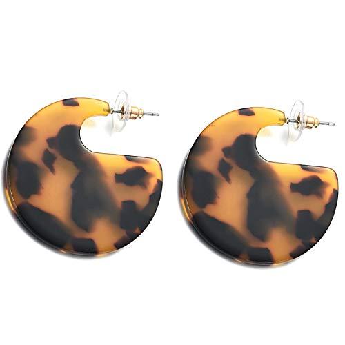 Faux Shell Earrings - Resin Tortoise Shell Hoop Earrings Acetate Statement Jewelry for Women Girls