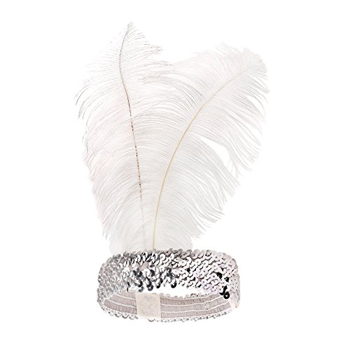 Showgirl Costumes Online (BABEYOND 1920s Flapper Headband Roaring 20s Sequined Showgirl Headpiece Great Gatsby Headband with White Feather)