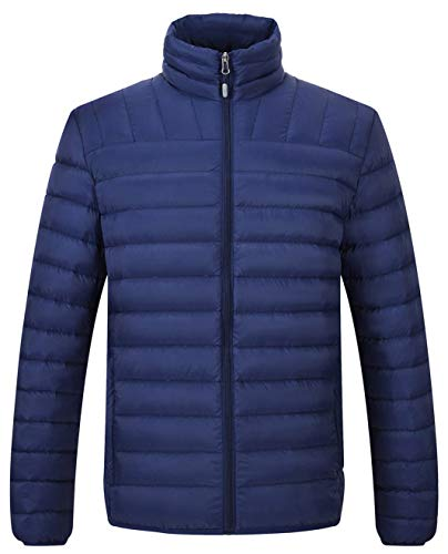 TBMPOY Men's Lightweight Stand Collar Packable Down Jacket Water-Resistant Sportswear(Navy,us S)