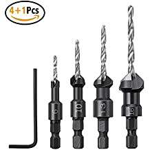 4Pcs Countersink Drill Bits, Drillpro Wood Drill Woodworking Countersink Chamfer, with One Hex Wrench, 6, 10, 13, 16