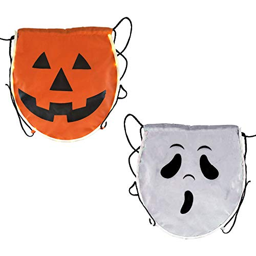 Halloween Haunters LED Light-Up Pumpkin and Ghost Trick-or-Treat Candy Bags - 12