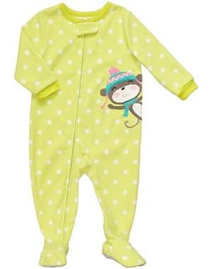 Toddler Footed Fleece Sleeper - Monkey w Snow Hat-4T