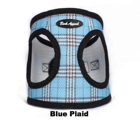 Bark Appeal Mesh EZ Wrap Plaid Harness (Small, Blue)