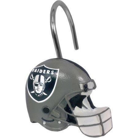 NFL Oakland Raiders Shower Curtain Hooks 12 Piece Set (Raiders Shower Curtain)