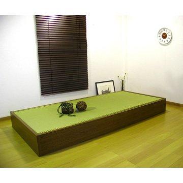 ヘッドレス い草畳ベッド 収納BOX付 (シングル)ダークブラウン B004AB0VVI Parent