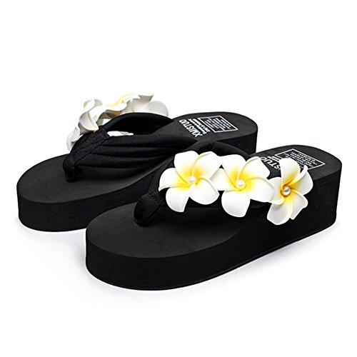 AVENBER Womens Flip Flop Mid Heel Sandals Plumeria Beach Thongs Anti Skid Platform Slippers Black