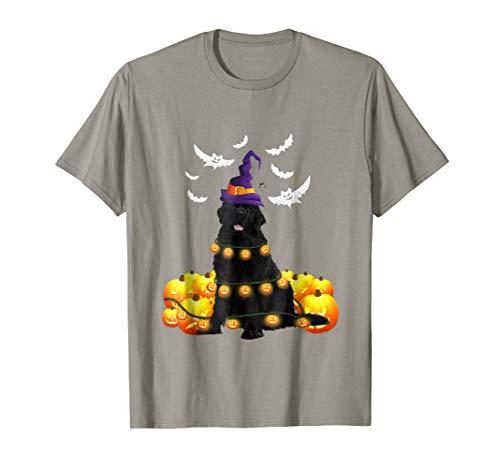 Newfoundland Dog Pumpkin Light Up Ghost Halloween T-Shirt -