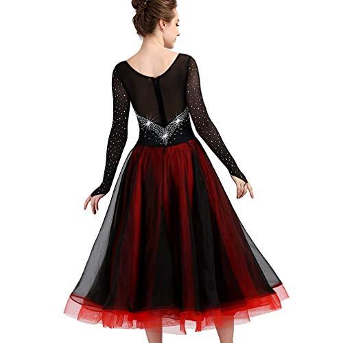 Danse Moderne Robes Femmes Retour De Maille Salon Pour Concours Perspective Tango Vêtements xl Manche Valse Robe Strass Avec Black Wqwlf En 4wCZtxC