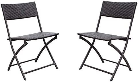 International Caravan Furniture Piece Set of 2 Resin Wicker Folding Chairs