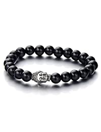 Mens Boys Bead Bracelet with Stainless Steel Buddha, Tibetan Beads Buddhist Prayer Mala, Black Onyx