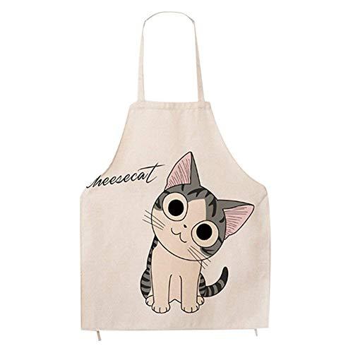 Phantomon Cat Apron for Women Cute Cartoon Apron Japanese Fun Cotton Chef Kitchen White Apron Adults Size, Cooking Baking BBQ Apron