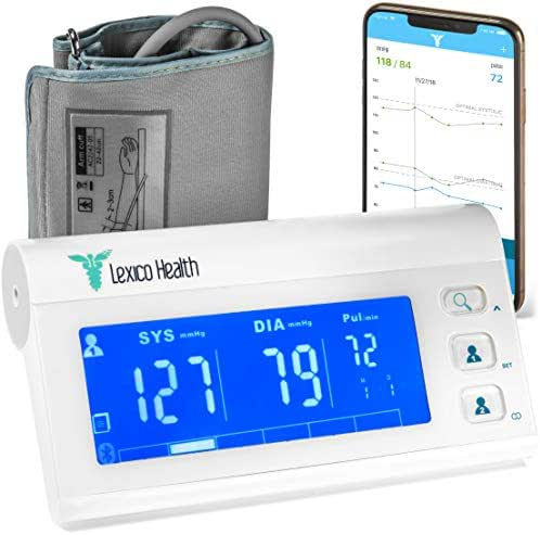 Bluetooth Blood Pressure Monitor by Lexico Health, Smart Medical Device for Heart Care at Home, Large Upper Arm Cuff Kit, Portable Digital Pressure Machine with Free App for Apple iPhone