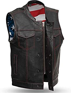 USA Flag Stitched Lining Mens Leather Patcholder Platinum Red Stitced Leather Vest 2XL
