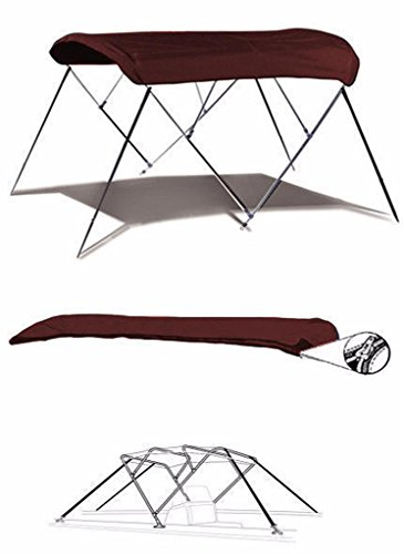 (SBU-CV 7oz Maroon 4 Bow Round Tube Boat Bimini TOP Sunshade for Lowe Tahiti 192 2004-2007)