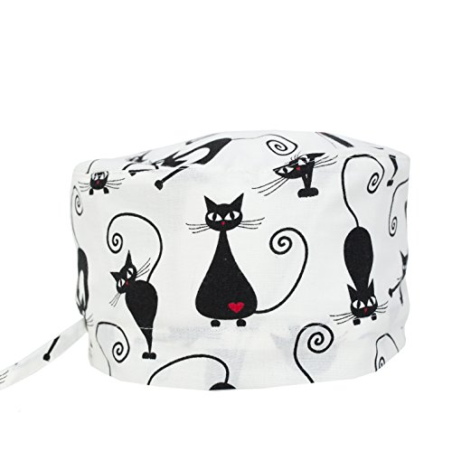 (KATE BIANCO Doctor Nurse Scrub Cap Surgical Hat Unisex Cat Dog Animal Print Medical Uniform Black and White (Black Cats))