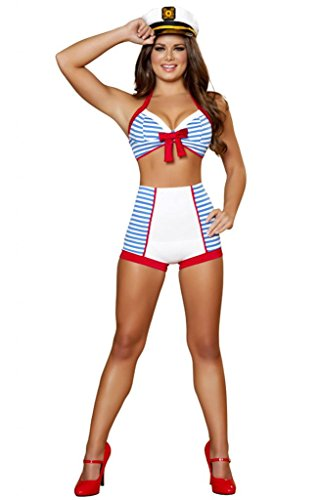 Sexy Striped Pin Up Sailor Girl Halloween Costume -