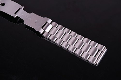 23mm Anti Allergic SS Watch Strap Wristband for Men Silver Solid INOX Steel Brushed Finish Straight End by autulet (Image #5)