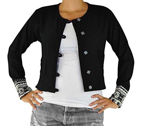 virblatt chaqueta étnica como moda hippie chic y ropa alternativa claleco estilo boho chic para mujeres como vestidos étnicos - Durchgedreht Negro Blanco