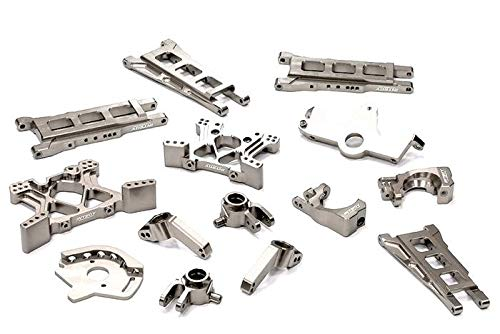 (Integy RC Model Hop-ups T8595SILVER Billet Machined T2 Conversion Kit for 1/10 Stampede 4X4 & Slash 4X4 (Non-LCG))