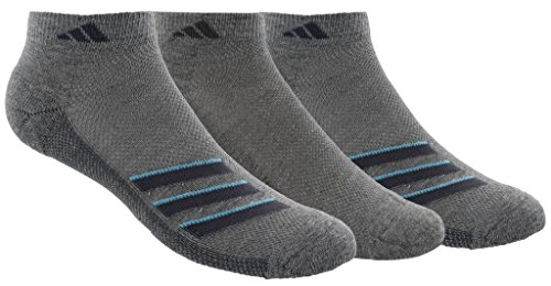 adidas Mens Climacool Superlite Low Cut Socks (3-Pack), Core Heather/Onix/Bright Cyan, Size 6-12