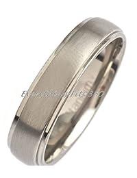 5mm Brushed Polished Edges Titanium Wedding Ring Comfort Fit Band