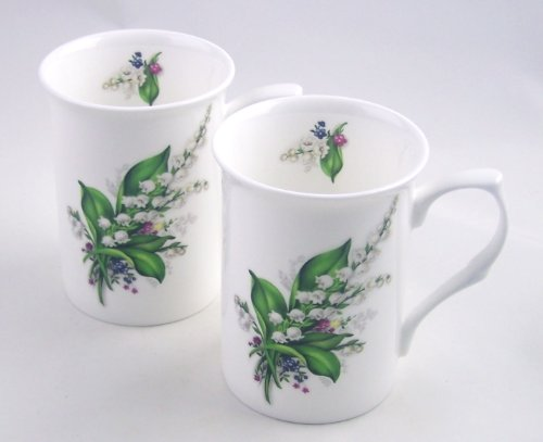 Pair Fine English Bone China Mugs - Lily of the Valley Chintz - England (Porcelain Lily)