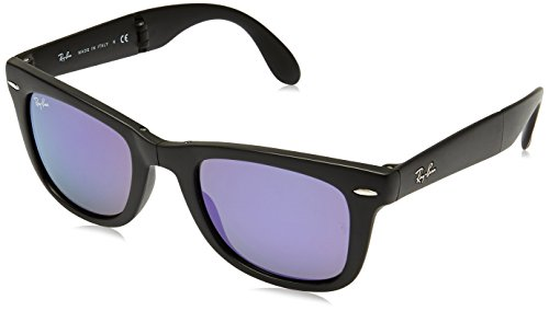 Ray-Ban FOLDING WAYFARER - MATTE BLACK Frame GREY MIRROR LILAC Lenses 50mm - Round Ray Ban Wayfarer Sunglasses