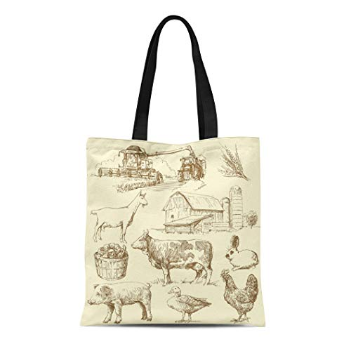 Semtomn Canvas Bag Resuable Tote Grocery Adorable Shopping Portablebags Green Cow Farm Collection Animal Vintage Chicken Natural 14 x 16 Inches Canvas Cloth Tote Bag