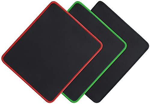 Psitek Mouse Pad 10x8.5 Inches Economic Mousepad Waterproof Cloth Surface Optimized for Precision, Durable Stitched Anti-Fray Edges Black Red and Green 3 Packs Mousepad