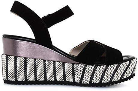 Valleverde 32435-SCHWARZ - Sandalias de mujer con cuña de ante negro
