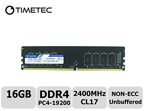 Price comparison product image Timetec Hynix IC 16GB DDR4 2400MHz PC4-19200 Non-ECC Unbuffered 1.2V CL17 2Rx8 Dual Rank 288 Pin UDIMM Desktop PC Computer Memory Ram Module Upgrade (16GB)