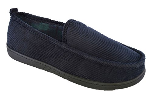 Socks Uwear SlumberzzZ Mens Cord Rib Style Check Fleece Lined Slippers Navy - Green Lining QmzNf9