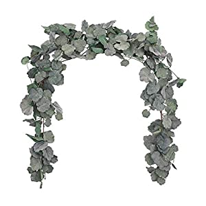 Sunm boutique 2pcs Artificial Hanging Willow Leaves Vines Twigs Fake Silk Willow Plant Leaves Garland String in Green for Indoor/Outdoor Wedding Decor Jungle Party Supplies Greenery Crowns Wreath 41