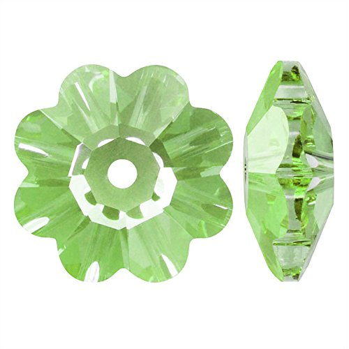 Swarovski Crystal, 3700 Flower Margarita Beads 6mm, 12 Pieces, Peridot