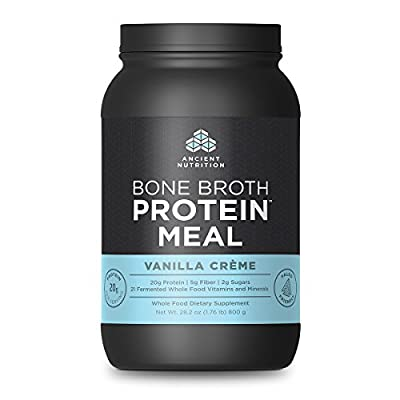 Ancient Nutrition Bone Broth Protein MEAL, Vanilla Crème Flavor, 20 Servings Size - All Natural Meal Replacement Shake with 21 Whole Food Vitamins and Minerals