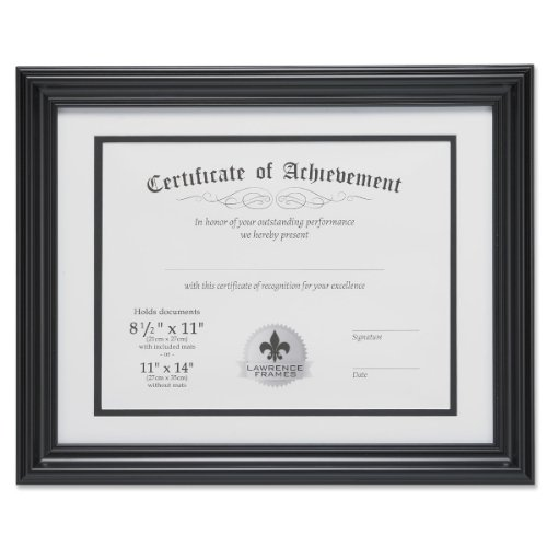 Lawrence Frames Dual Use 11 by 14-Inch Certificate Picture Frame with Double Bevel Cut Matting for 8.5 by 11-Inch Document, Black by Lawrence Frames