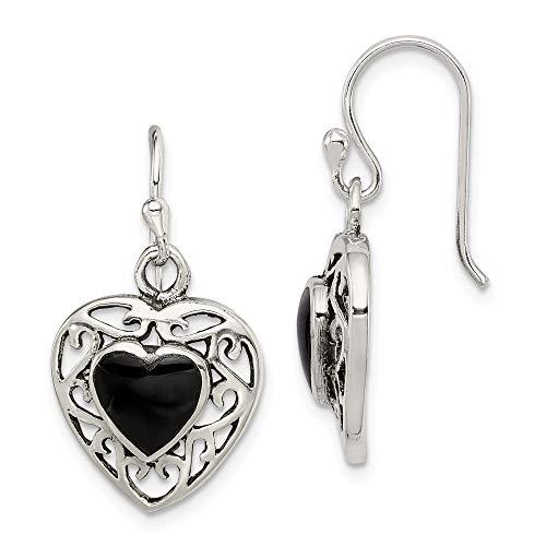 925 Sterling Silver Black Onyx Heart Shepherd Hook Drop Dangle Chandelier Earrings Love Fine Jewelry Gifts For Women For Her ()