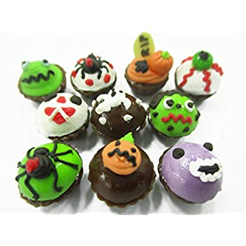 10 Miniatures Halloween Cupcakes Dollhouse Miniatures Food Bakery 1