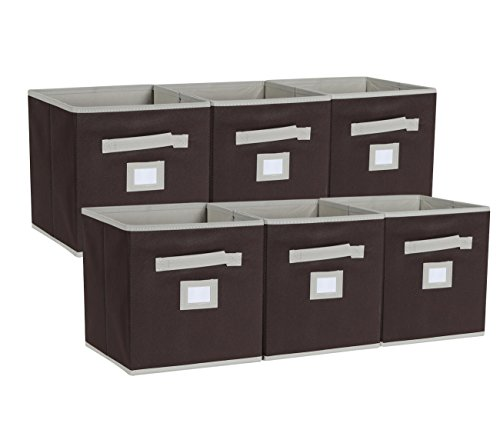 EPG-Life 6 Pack Collapsible Storage Cubes Foldable Basket Bins Organization with Label Holder and Dual Fabric Handle, Brown by EPG-Life