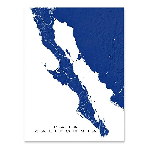 Baja California Peninsula Map Print, Mexico, Landscape Art, Cabo San Lucas ()