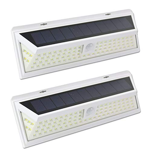 Leisure LED 86 LED Wall Solar Light Outdoor Security Lighting Nightlight with Motion Sensor Detector for Garden Back Door Step Stair Deck Yard Driveway RV Trailer Motor-Home White, 2-Pack 86-LED