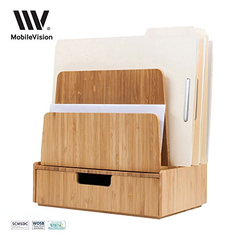 Desktop Paper Tray File Folder Holder 5-Slot, & Bamboo Drawer Set; Storage for Office Supplies & Stationary items, pens, pencils, scissors, notepads, business cards and more (Holder Tray Top)