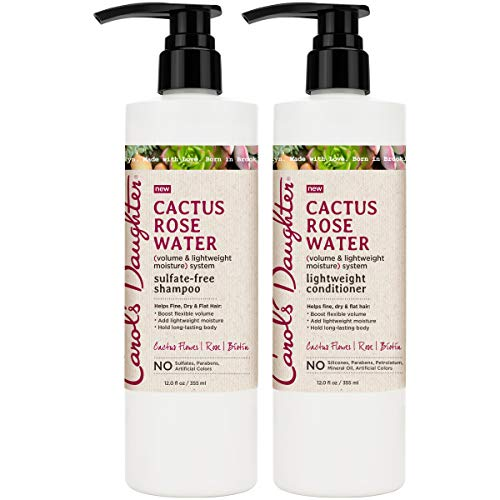 Carols Daughter Cactus Rose Water Sulfate Free Shampoo and Conditioner Set For Fine Hair, Dry Hair, Flat Hair, with Cactus Flower Extract, Rose Water, and Biotin, Paraben Free