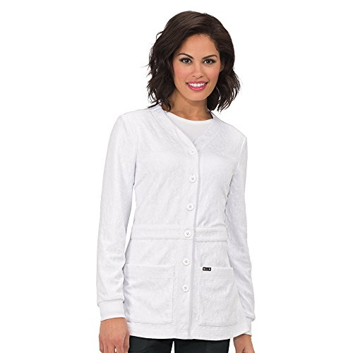koi Lite Women's Claire Button Front Solid Cardigan Scrub Jacket Large White (Lab Cardigan)