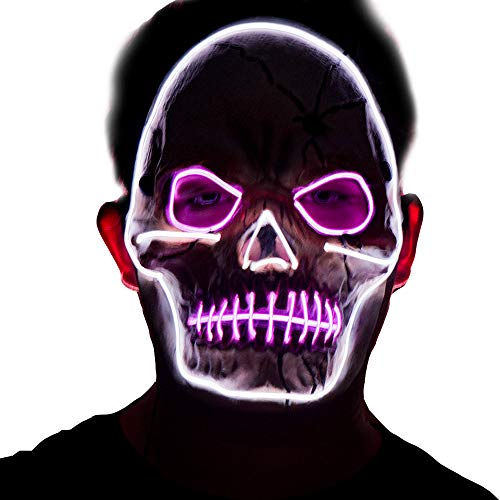 Scary Halloween Costumes For Womens 2019 (Halloween LED Scary Skull Mask,2019 Cool Costume Glow Latex Skull Mask,Light up Mask for Men,Women Festival Halloween Costume Party)