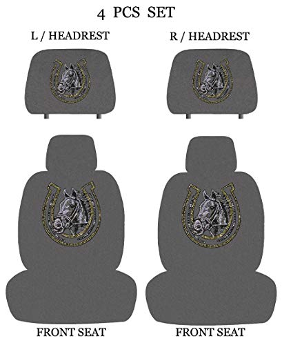 ALLBrand Universal Fit Front 4-Piece Full Set Horse Crystal Bling Rhinestone Studded Low Back Front Bucket Seat Covers with Separate Headrest Covers (Horse Shoe/Gray)