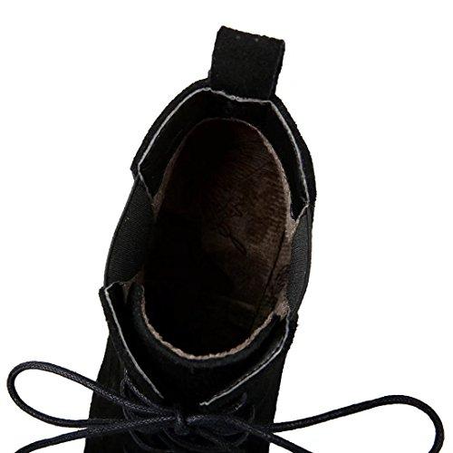 AIYOUMEI Damen Ankle Boots Blockabsatz Stiefeletten mit 7cm Absatz und Schnürung Herbst Winter Schnürstiefeletten Schuhe Schwarz