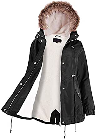 Ladies' Code Faux Fur Hooded Fur Lined Sherpa Warm Jacket w/Detachable Fur Trim Black S Size