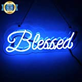 Neon Signs Blessed Shaped Handmade Glass Neon Light Sign 15 x 4 Inch Blue Novelty Night Light Decorative Beer Bar Sign for Bedroom Wall Office Party Decor